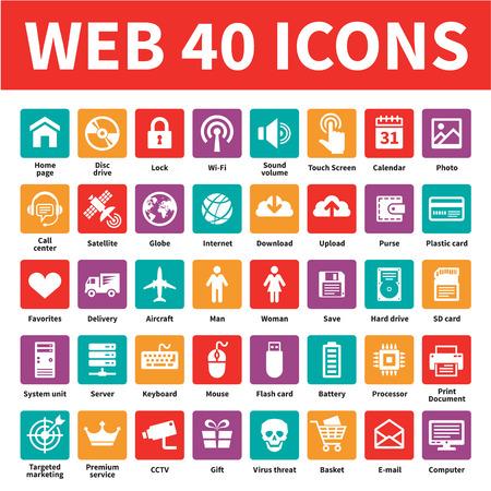 Web 40 Vector Icons. Internet icons set. Ilustração