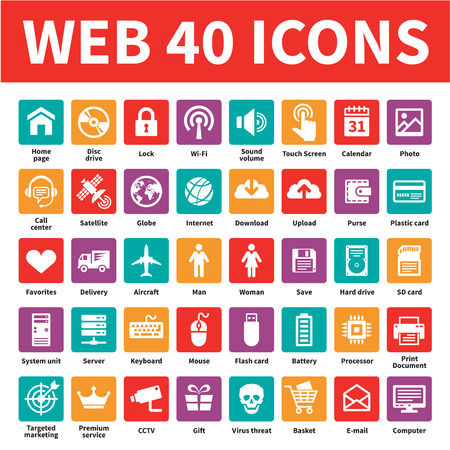 communication icons: Web 40 Vector Icons. Internet icons set. Illustration