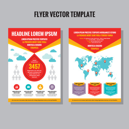 Abstract flyer vector template. Brochure vector template. Design elements. Vector world map included.