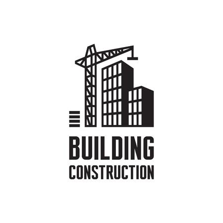 Der Bau der Gebäude Illustration. Kran und Gebäude Konstruktion Abbildung Standard-Bild - 34911861