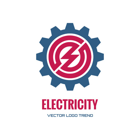 electricity company: Electricity - vector concept illustration. Gear icon.