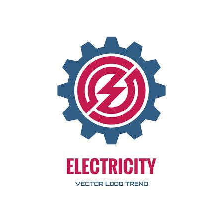 Elektriciteit - vector concept illustratie. Tandwielpictogram.