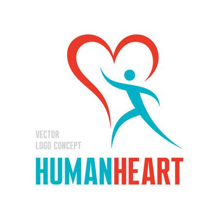 C?ur humain - vecteur concept illustration. Caractère humain avec le symbole de coeur Vecteurs