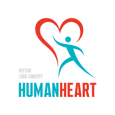 Human heart - vector concept illustration. Human character with heart symbol  Vectores