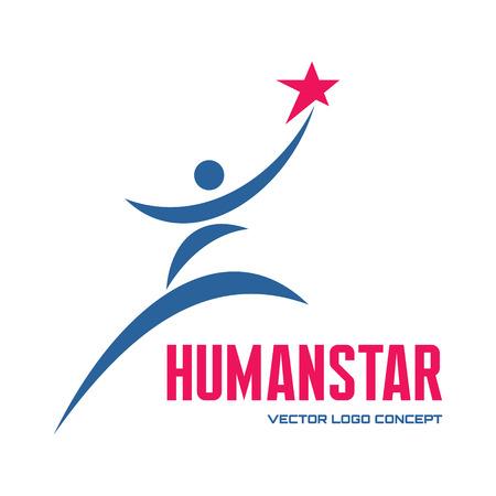 sport club: Human star - vector concept illustration for business company, media portal, sport club, creative agency etc. Human character.  Illustration