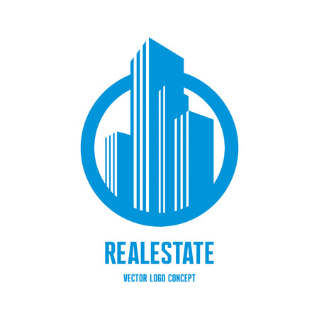 sign: Real estate concept illustration. Building in classic graphic style.
