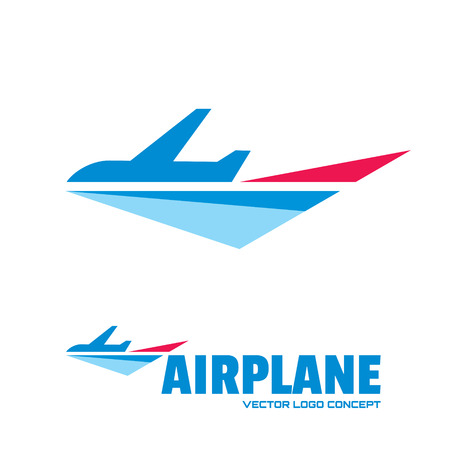 Airplane - vector concept. Aircraft illustration. Vector template. Minimal classic style. Airplane silhouette for transportation and travel company.  Ilustração