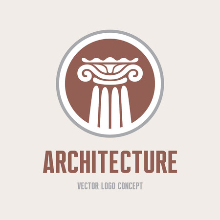 Architecture - vector concept. Antique column abstract sign. Architectural order.