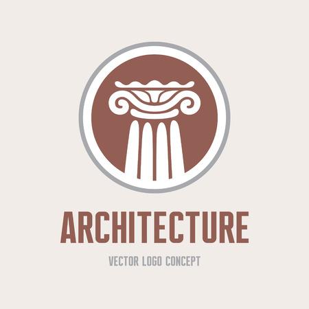 corinthian: Architecture - vector concept. Antique column abstract sign. Architectural order.
