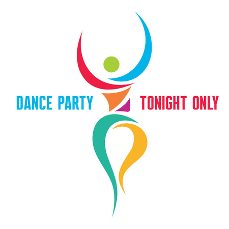 sport body: Dance Party - Creative Sign in Classic Graphic Style for Dance Party, Healthcare Center, Fitness Club, Sport Festival and more. Illustration