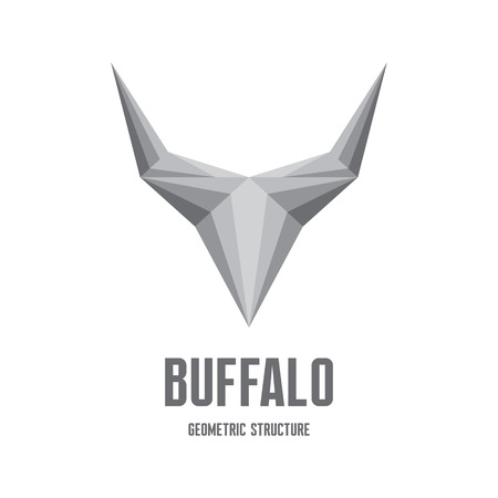 Buffalo icon Sign - Abstract Geometric Structure for creative design project.