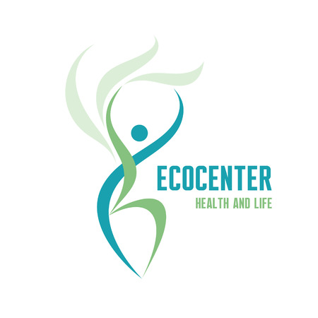 sport woman: Ecocenter - Healthcare & Life - Creative Sign in Classic Graphic Style for Ecology Company, Fitness Club, Sport Festival, Healthcare Center and more.  Illustration