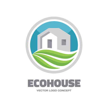 wave crest: Eco House - vector icon concept. Building and ecology illustration.