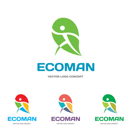 man symbol: EcoMan - vector icon sign concept illustration. Man figure on leaf.