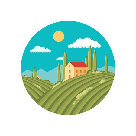 agrario: Paisaje de la agricultura con el vi�edo. Vector la ilustraci�n abstracta en el dise�o de estilo plano.