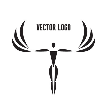 Vector Template - Man with Wings. Graphic Sign in Black and White Colors. Vitruvian man style. Ilustracja