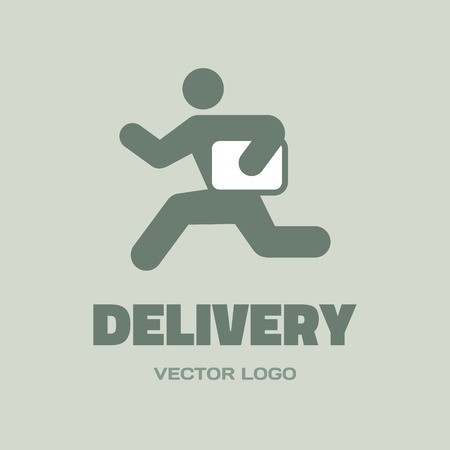 delivery man: Delivery - vector concept. Running man.