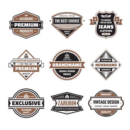 black banner: graphic badges collection. Original vintage badges Illustration