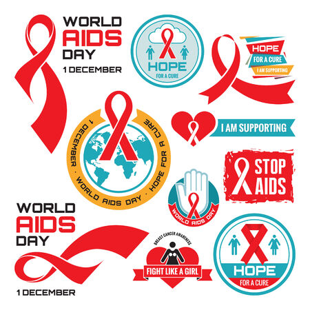 cancer symbol: AIDS red ribbon badges collection