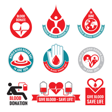 Blood donation badges collection  イラスト・ベクター素材