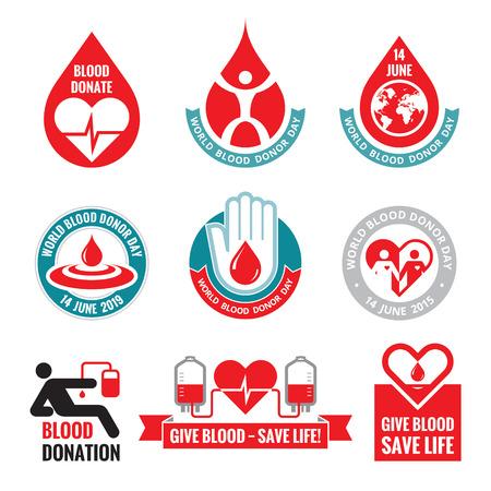 Blood donation badges collection Illustration