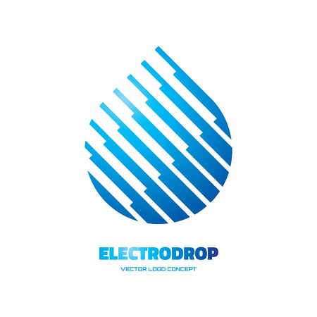 Electrodrop - vector icon concept illustration. Abstract water drop icon. Vector icon template. Design element.