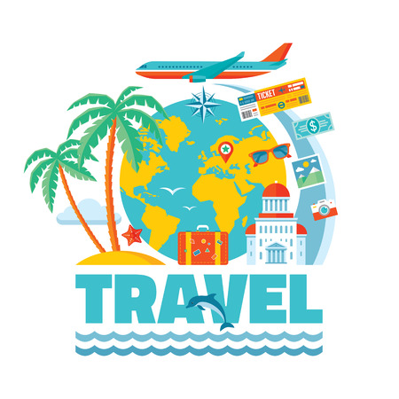 travel bags: Travel - vector illustration concept in flat design style for presentation, advertising, booklet, poster etc. Travel icons set. Creative layout. Design elements.