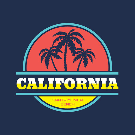 California - Santa Monica beach - vector illustration concept in vintage graphic style for t-shirt and other print production. Palms and sun vector illustration. Design elements. Çizim