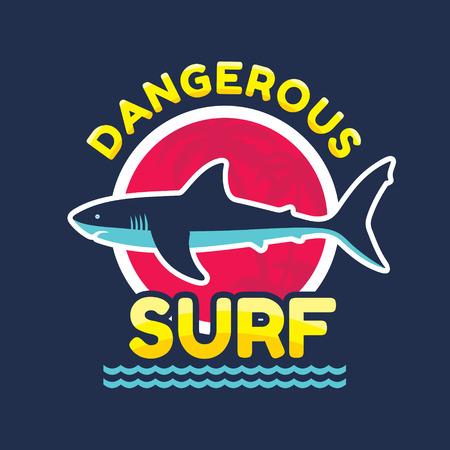 dangerous: Dangerous surf - vector icon badge for t-shirt and other print production. Shark vector illustration. Design element.