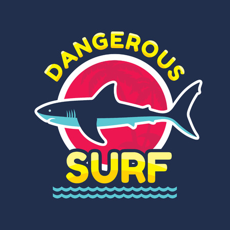 Dangerous surf - vector icon badge for t-shirt and other print production. Shark vector illustration. Design element.