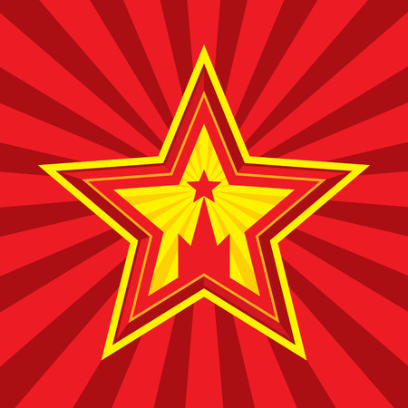 ussr: Star with Kremlin symbol - vector concept illustration in Soviet Union agitation style. Russia and USSR symbol. Moscow symbol. Red background. Minimal style. Design element.