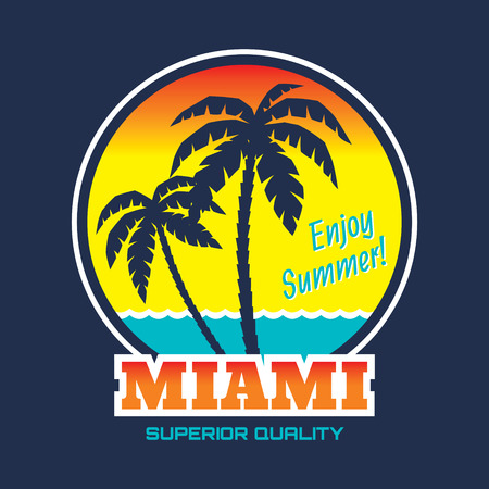 Miami - vector illustration concept in vintage graphic style for t-shirt and other print production. Palms, wave and sun vector illustration. Design elements. Ilustração