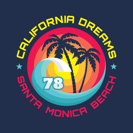 California - Santa Monica beach - vector illustration concept in vintage graphic style for t-shirt and other print production. Palms, wave and sun vector illustration. Design elements. Иллюстрация