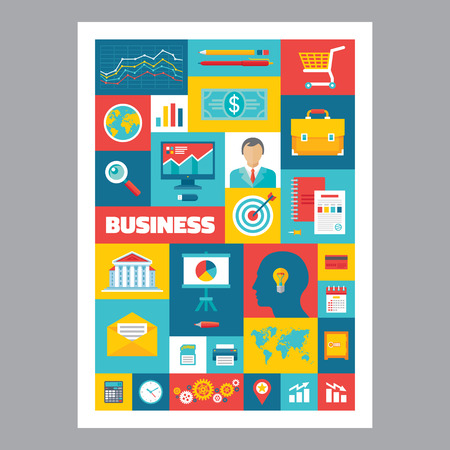 Business - mosaic poster with icons in flat design style. Vector icons set. Business flat illustrations. Design elements.