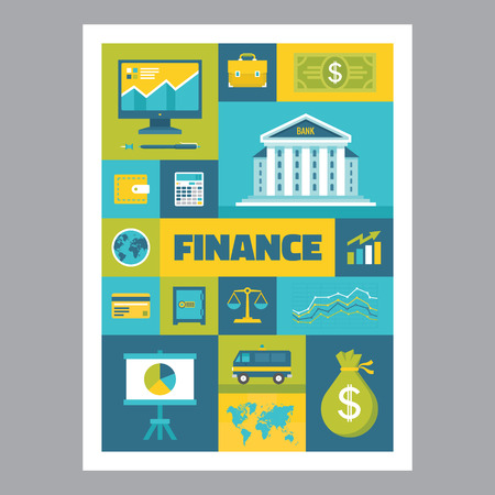 Finance - mosaic poster with icons in flat design style. Vector icons set. Finance flat illustrations. Design elements.