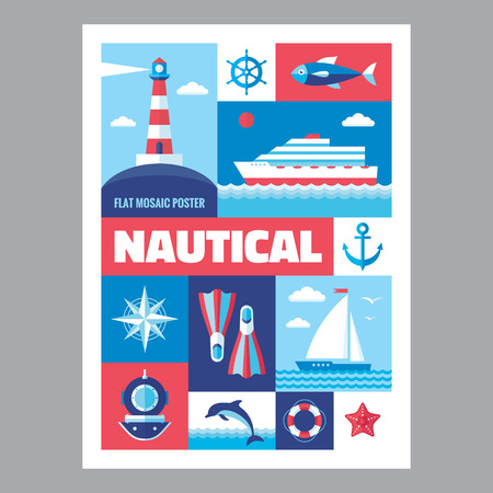 red wave: Nautical - mosaic poster with icons in flat design style. Vector icons set. Set of icons marine. Nautical illustrations. Design elements.