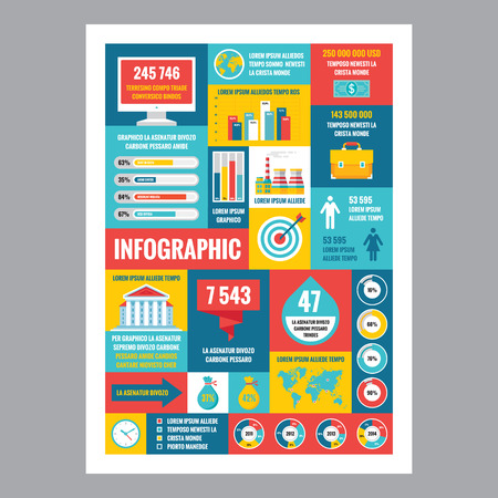 business abstract: Business infographic - mosaic poster with icons in flat design style. Vector icons set. Business flat illustrations and infographics. Business infographic template. Design elements.