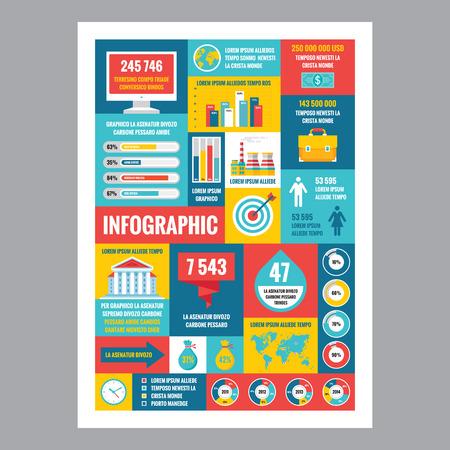 gestion empresarial: Infograf�a negocios - cartel del mosaico con los iconos en el estilo de dise�o plano. Iconos del vector fijadas. Empresas ilustraciones planos e infograf�as. Plantilla de infograf�a. Los elementos de dise�o.
