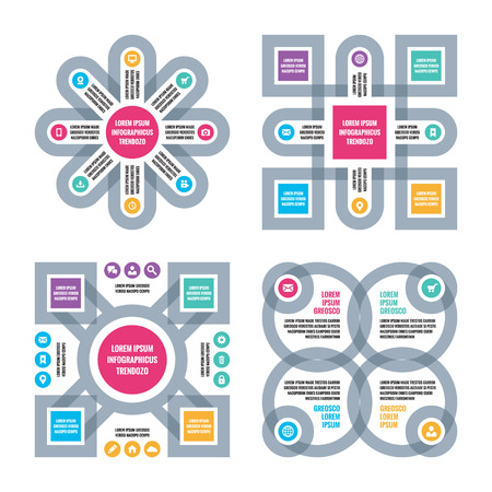 Four Infographic business concept. Four vector schemes with icons. Design elements.