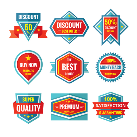 retail business: Sale and discount vector badges in flat style design. Sale badges collection. Vector flat badges set. Sale and discount logos. Design elements.