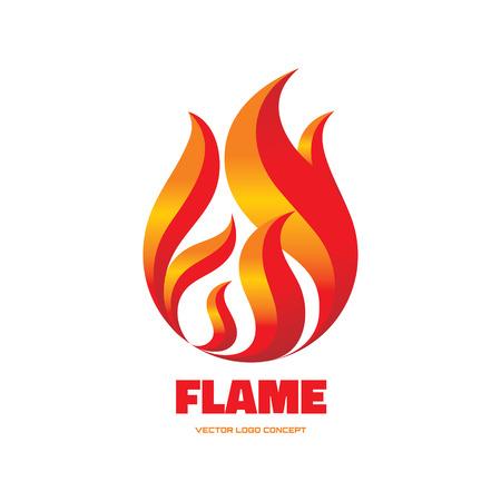 flames: Llama - vector logo concepto de ilustraci�n. Signo de fuego rojo. Vector insignia de la plantilla. Elemento de dise�o.