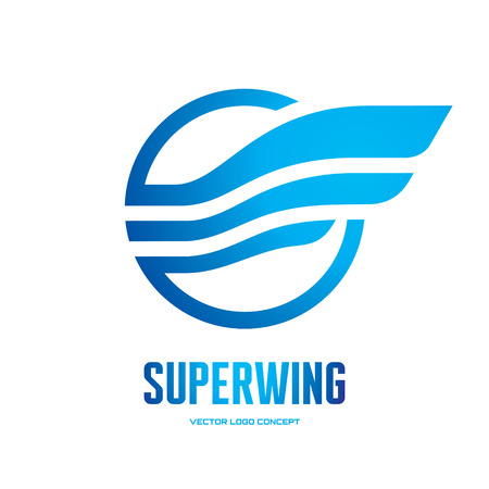 transportation company: Superwing - vector icon concept illustration. Abstract wing icon. Vector icon template. Design element.