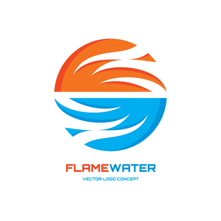 water wings: Flamewater - abstract vector icon concept illustration. Vector icon template. Design element.