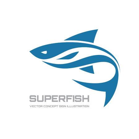 Súper peces - vector icono ilustración del concepto. Icono de los pescados. Vector icono de plantilla. Elemento de diseño. Foto de archivo - 38115353