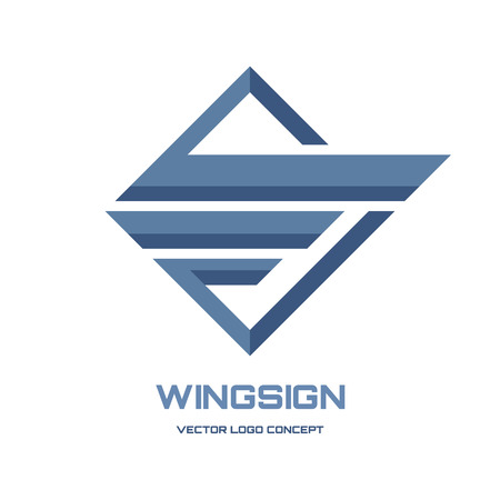 birds wings: Abstract wing sign - vector icon concept illustration. Geometric abstract icon. Vector icon template. Design element. Illustration