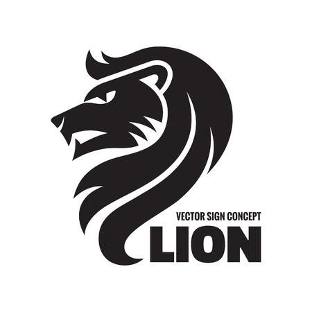 動物のライオン - ベクトル アイコンの概念図。ライオン ヘッド、記号図です。ベクトル アイコン ・ テンプレート。デザイン要素。