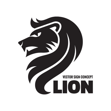 lion king: Animal lion - vector icon concept illustration. Lion head sign illustration. Vector icon template. Design element.