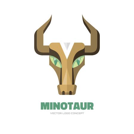 brawn: Minotaur - vector logo concept illustration. Buffalo head logo. Bull head logo. Taurus head logo. Vector logo template. Design element.