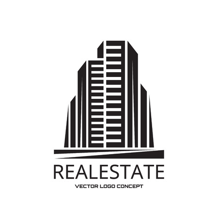 social apartment: Real Estate - vector icon concept design. Modern buildings vector illustration. Vector icon template. Abstract vector icon of buildings. Cityscape. Vector icon template. Design element.