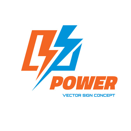 energia electrica: Potencia - vector icono ilustraci�n del concepto. Icono de rel�mpago. Icono de la electricidad. Vector insignia de la plantilla. Elemento de dise�o.